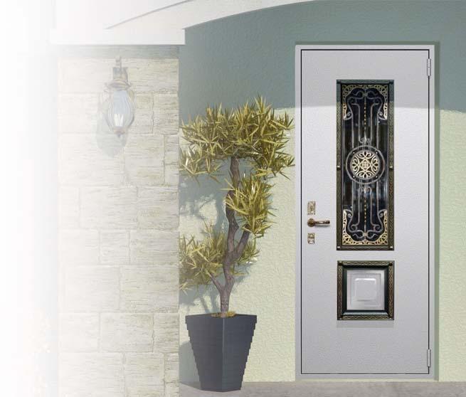 Входные двери со стеклопакетом и ковкой